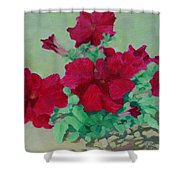 Red Flowers Art Brilliant Petunias Bright Floral  Shower Curtain