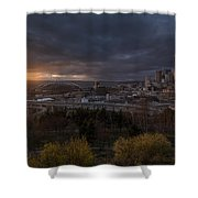 Bright Seattle Sunstar Dusk Skyline Shower Curtain