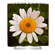 Bright Yellow And White Daisy Flower Abstract Shower Curtain