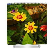 Bright Yellow Flowers Shower Curtain