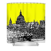 Dark Ink With Bright Yellow London Skies Shower Curtain