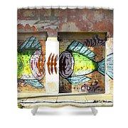 Brightly Colored Fish Mural Shower Curtain