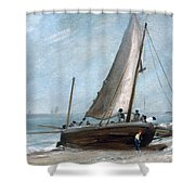 Brighton Beach With Fishing Boats Shower Curtain