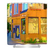 Bring Your Own Wine Restaurant Vents Du Sud Rue Roy Corner French Cafe Street Scene Carole Spandau Shower Curtain