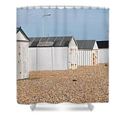 British Beach Huts In Sussex Shower Curtain