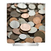 British Coins Sterling Full Frame Shower Curtain