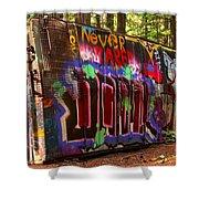 British Columbia Train Wreck Graffiti Shower Curtain