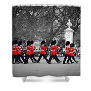 British Royal Guards March And Perform The Changing Of The Guard In Buckingham Palace Shower Curtain