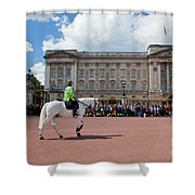 British Royal Guards Riding On Horse And Perform The Changing Of The Guard In Buckingham Palace Shower Curtain