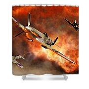 British Supermarine Spitfires Bursting Shower Curtain