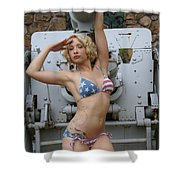 Brittany Usa Flag Bikini With Cannon Shower Curtain