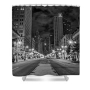 Broad Street At Night In Black And White Shower Curtain