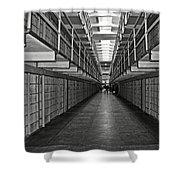 Broadway Walkway In Alcatraz Prison Shower Curtain by RicardMN Photography