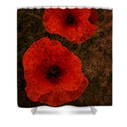 Brocade Textured Poppies Shower Curtain