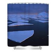 Broken Fast Ice Under Midnight Sun Shower Curtain by Tui De Roy