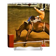 Bronc Bucking Out The Gate Shower Curtain