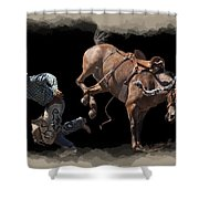 Bronco Busted Shower Curtain by Daniel Hagerman