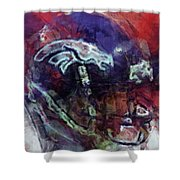 Broncos Art  Shower Curtain
