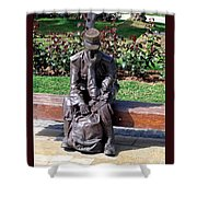 Bronze Mailman Resting Shower Curtain