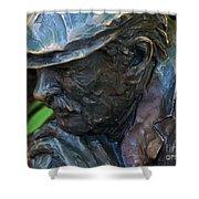 Bronze Man Sitting Shower Curtain