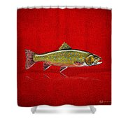 Brook Trout On Red Leather Shower Curtain