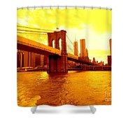 Brooklyn Bridge In Yellow Shower Curtain