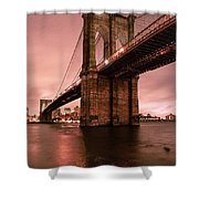 Brooklyn Bridge - Red Morning Shower Curtain by Gary Heller