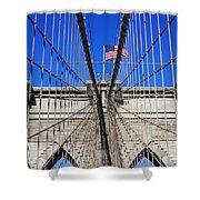 Brooklyn Bridge With American Flag Shower Curtain