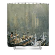 Brooklyn Harbor Circa 1921  Shower Curtain by Aged Pixel