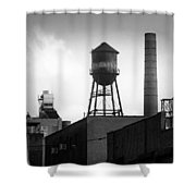 Brooklyn Water Tower And Smokestack - Black And White Industrial Chic Shower Curtain by Gary Heller