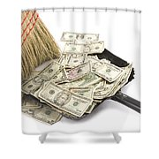 Broom Sweeping Up American Currency Shower Curtain