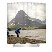 Brother And Sister Playing Near A Lake Shower Curtain