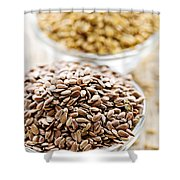 Brown And Golden Flax Seed Shower Curtain