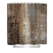 Slender - Grey And Brown Abstract Art Painting Shower Curtain