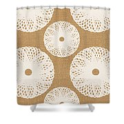 Brown And White Floral Shower Curtain by Linda Woods