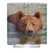 Brown Bear Painting Shower Curtain
