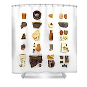Brown China And Amber Sea Glass Shower Curtain by Jennifer Booher