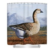 Brown Chinese Goose Shower Curtain by Crista Forest