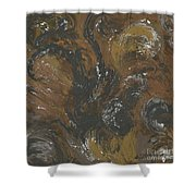 Brown Color Of Energy Shower Curtain by Ania Milo