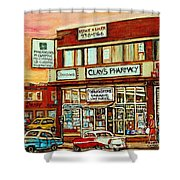 Brown Derby Van Horne Shopping Center Clay's Pharmacy Montreal Paintings City Scenes Carole Spandau Shower Curtain