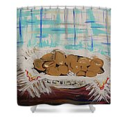 Brown Eggs In A Basket Shower Curtain