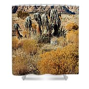Brown Ridge Line Shower Curtain