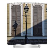 Brown Shutter Doors And Street Lamp - New Orleans Shower Curtain