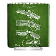 Browning Rifle Patent Drawing From 1921 - Green Shower Curtain