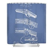 Browning Rifle Patent Drawing From 1921 - Light Blue Shower Curtain
