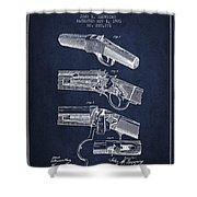 Browning Rifle Patent Drawing From 1921 - Navy Blue Shower Curtain