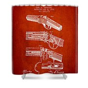 Browning Rifle Patent Drawing From 1921 - Red Shower Curtain