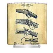 Browning Rifle Patent Drawing From 1921 - Vintage Shower Curtain