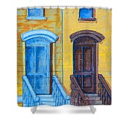 Brownstone Mural Art Shower Curtain