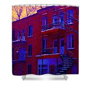 Brownstones In Winter 6 Shower Curtain